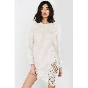 Fringed Long Sleeved Sweater Dress